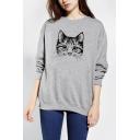 Women's Cute Cat Print Long Sleeve Round Neck Casual Sweatshirt