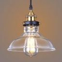 8/10/11 Inches Width Industrial Lodge 1-Light Indoor Ceiling Fixture with Crystal Clear Glass Shade