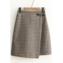 Women's High Rise Plaid Print A-Line Basic Mini Skirt