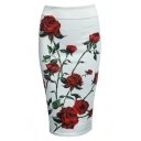 Women Floral Print Midi Pencil Skirt for Office Wear