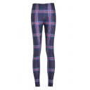 Women's Plaid Print Ankle Length Skinny Leggings One Size