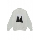 Loose High Neck Portray Print Plain Pullover Sweatshirt with Long Sleeve
