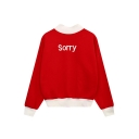 Letter Print Color Block Long Sleeve Mock Neck Pullover Women's Sweatshirt