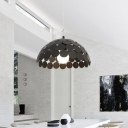 Metal Pendant Light In Downward Semicircle ShapeBlack