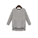 Trendy Striped Dropped Long Sleeve High and Low Trim Split Side Pullover T-Shirt