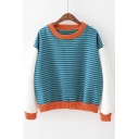 New Striped Color Block Long Sleeve Contrast Trim Pullover Sweatshirt