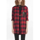 Women's Plaid Print Patched Long Sleeve Tunic Shirt