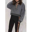 Fashion Lace-Up Front Women's Hooded Striped Print Crop Hoodie