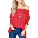 Women's Fashion Off Shoulder Tops Haft Sleeve Blouses Causal T-shirts