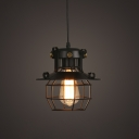 Industrial Novel 1-Light Pendant Light in Black with Wire Cage