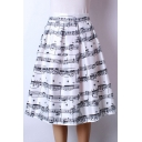 Women's High Waist Note Print Pleated Skirt Midi Skater Skirt One Size