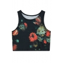 Women Floral Printed Crop Top Casual Vest Tank Tops