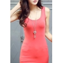Women's Plain Basic Sleeveless Scoop Neck Bodycon Vest Dress