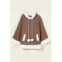 Lovely Contrast Trim Hooded Raglan Batwing Long Sleeve Cape with Two Pockets
