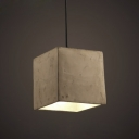 6'' W Cube Cement Style Vintage Single Light Pendant Light