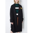 Cherry Embroidery Lapel Collar Single Breasted Women's Trench Coat