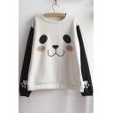 Cute Bear Print Long Sleeve Round Neck Color Block Women's Sweatshirt