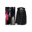 Faux Fur Women's Hooded Open Front Long Sleeve Winter's Coat