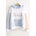 Cute Cat Patchwork Color Block Women's Pullover Casual Hoodie