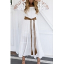 Women's Fashion Bell Sleeve Crochet Sleeve Ribbons Waist Off the Shoulder Maxi Beach Dress