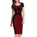 Women's Fashion Color Block Short Sleeve Scoop Neck Pencil Midi Dress