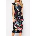 Women's Fashion Cap Sleeve Round Neck Floral Print Midi Pencil Dress