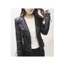 Women's Faux Leather Lay Down Collar Motorcycle Jacket