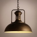 One Light Metal Dome Shade Rustic Hanging Lamp Of Industrial Style