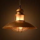 Antique Gold Finished Wrought Iron Style Single Light Pendant