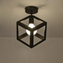 Mini Cube Shape Semi-Flush Ceiling Light in Cage Style
