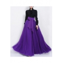 Women's Gauze High Rise Bow Front A-Line Flared Maxi Skirt