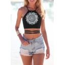 Sexy Women's Halter Floral  Printed Tied Back Crop Tank Top