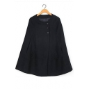 Women's Loose Long Sleeve Plain Tunic Cape with Two Pockets