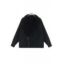 Loose Wash Woolen Notched Lapel Zipper Placket Black Denim Coat