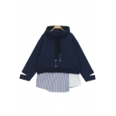 New Stylish Split Cuffs Hooded Striped Asymmetric Patchwork Plain Hoodie