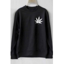 Leaf Print Long Sleeve Round Neck Women's Loose Sweatshirt