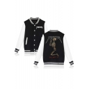 Letter Print Skull Back Single Breasted Fashion Baseball Jacket