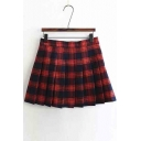 Women's Sweet Preppy Style Plaid A-Line Pleated Mini Skirt
