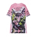 Round Neck Letter Print Cute Cat Short Sleeve Loose Tee