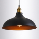 Industrial Single Light Foyer Metal Pendant In Black/White/Gray