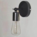 Vintage Single Light Bulb Style Wall Sconce in Black