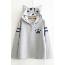 Women's Cute Cat Print Long Sleeve Loose Casual Pullover Hoodie