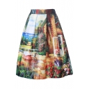 Women's Printed Pleated Flared A-Line Midi Skirt