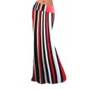 Women's Casual Striped Printed High Waist Stretch Maxi Skirt Fishtail Long Skirt