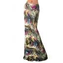 Women's Casual Printed High Waist Stretch Maxi Skirt Fishtail Long Skirt