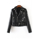 Women's Fashion Sweetheart Floral Embroidery Back Lapel Collar PU Biker Jacket