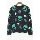 Fashion Alien Print Long Sleeve Round Neck Oversize Sweatshirt