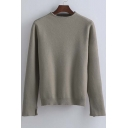 Women's Pullover Mock Neck Long Sleeve Basic Loose Sweater
