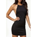 Women Black Halter Strap Cross Back Plain Sexy Beach Bodycon Dress