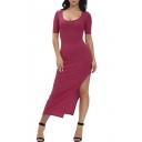 Women's Long Sleeve Knit Sweater Pullover Dress